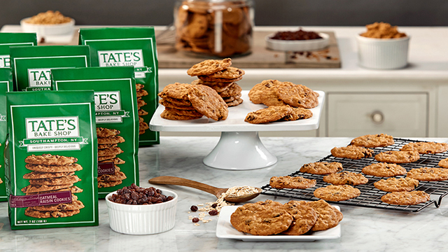 Oatmeal Raisin Cookies and bags of Oatmeal Raisin Cookies on a table