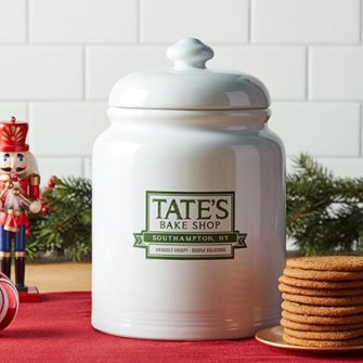 Holiday Ceramic Jar with Gingersnap Cookies