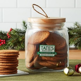 Holiday Glass Cookie Jar with Gingersnap Cookies