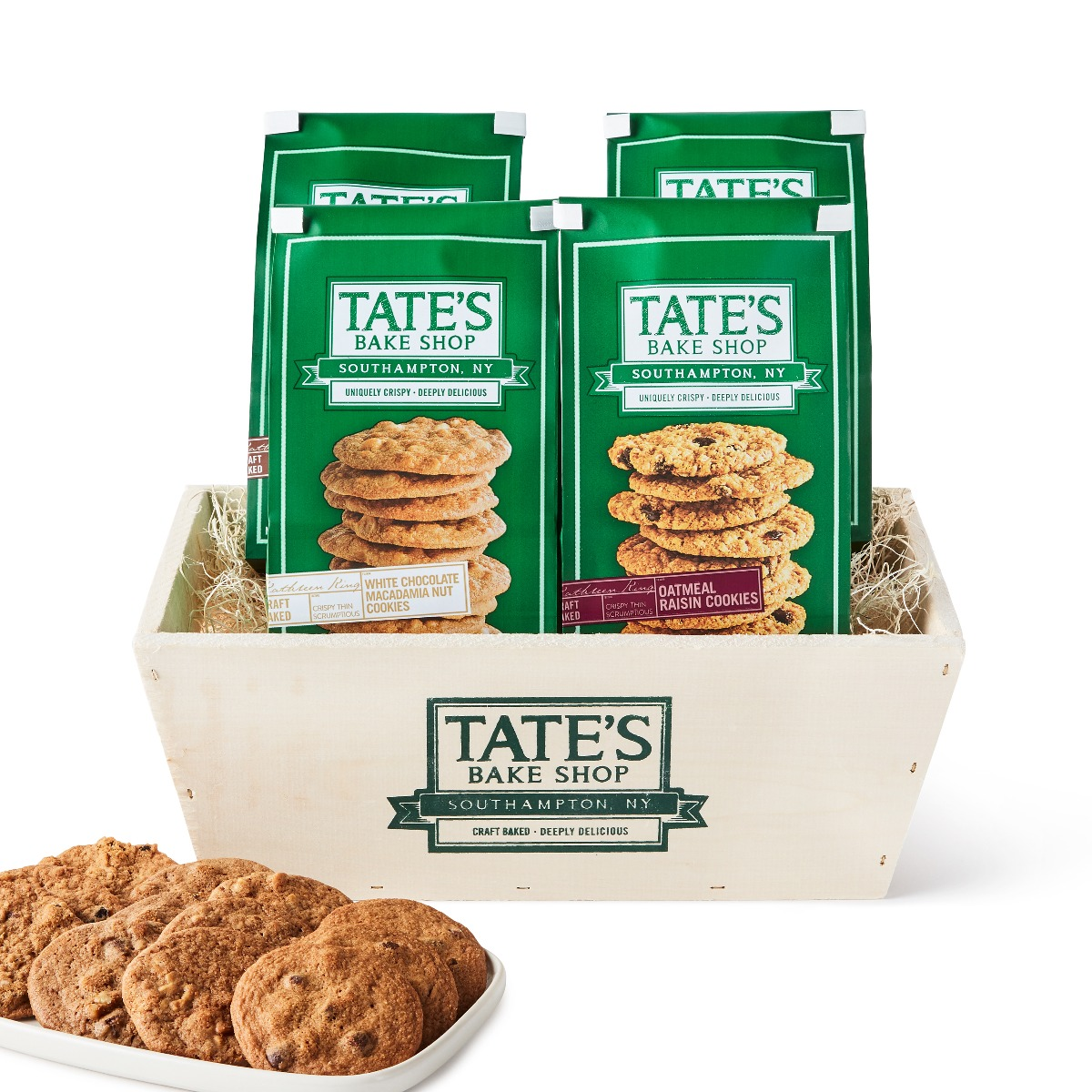 Bags of cookies in wooden basket